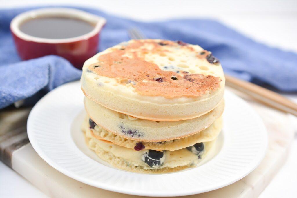 Vegan Blueberry Pancakes on white plate