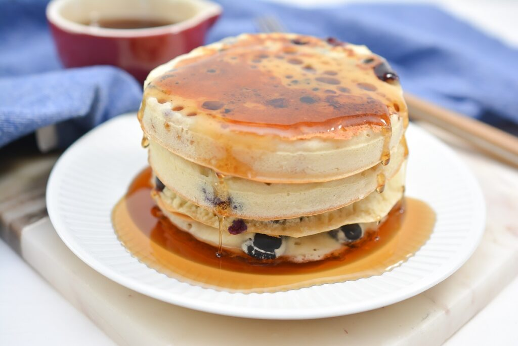 Vegan Blueberry Pancakes with syrup