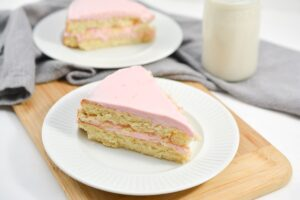 Keto Vanilla Cake on white plate