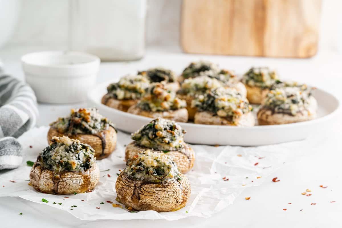 Keto Stuffed Mushrooms on white plate