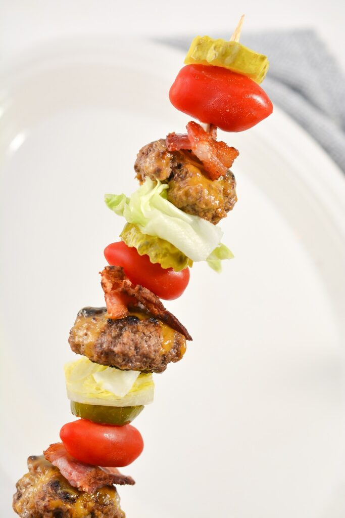 Bacon Cheeseburger Keto Kebabs