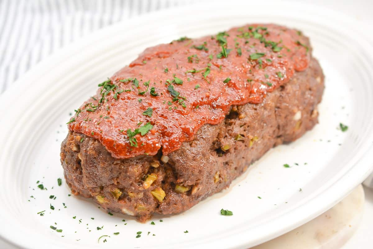 Keto Meatloaf on white plate