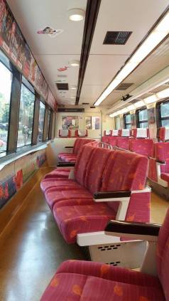Angled seating in the train for enhanced viewing - most thoughtful!