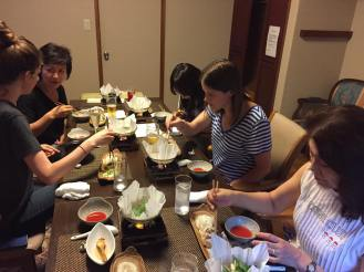 Digging in to the first of many courses comprising traditional kaiseki dinner. NOM.