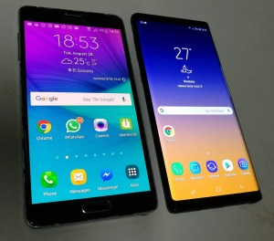 Samsung Note 4, left, next to the 2018 Samsung Note 9
