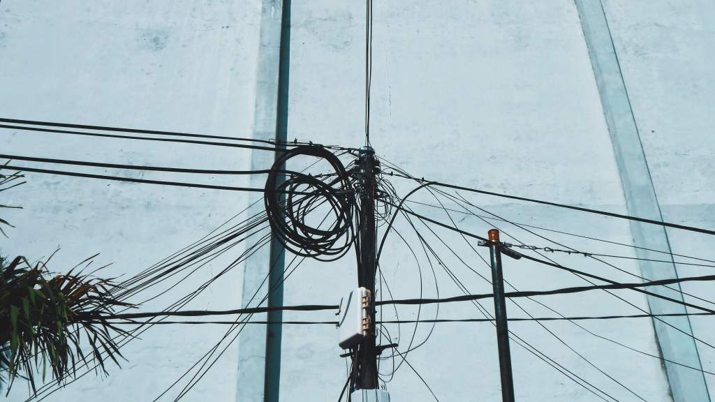 Electrical wires on a pole