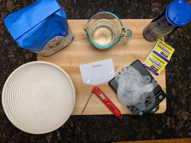 Ingredients to make bread: flour, water, salt, yeast.