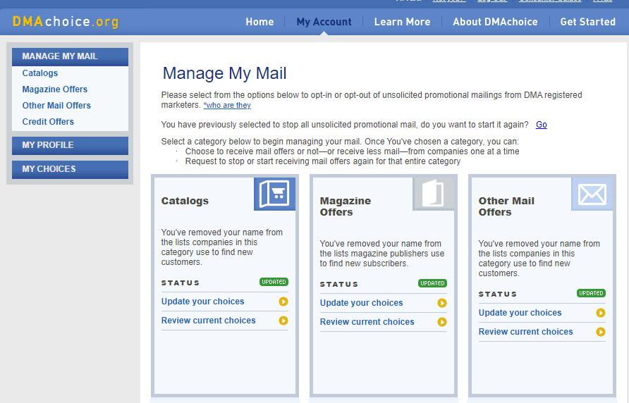 DMA Choice Junk Mail