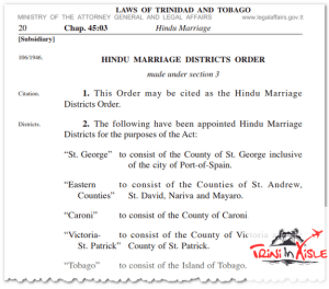 Trinidad Hindu Marriage Act Districts.