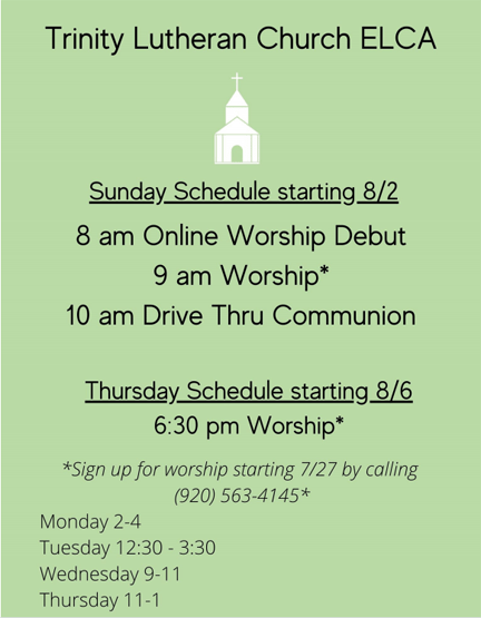 Trinity schedule