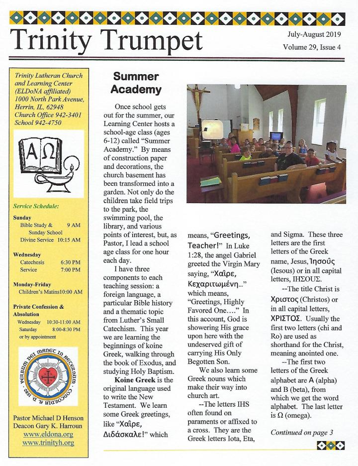 Newsletter July August 2019 Front Cover