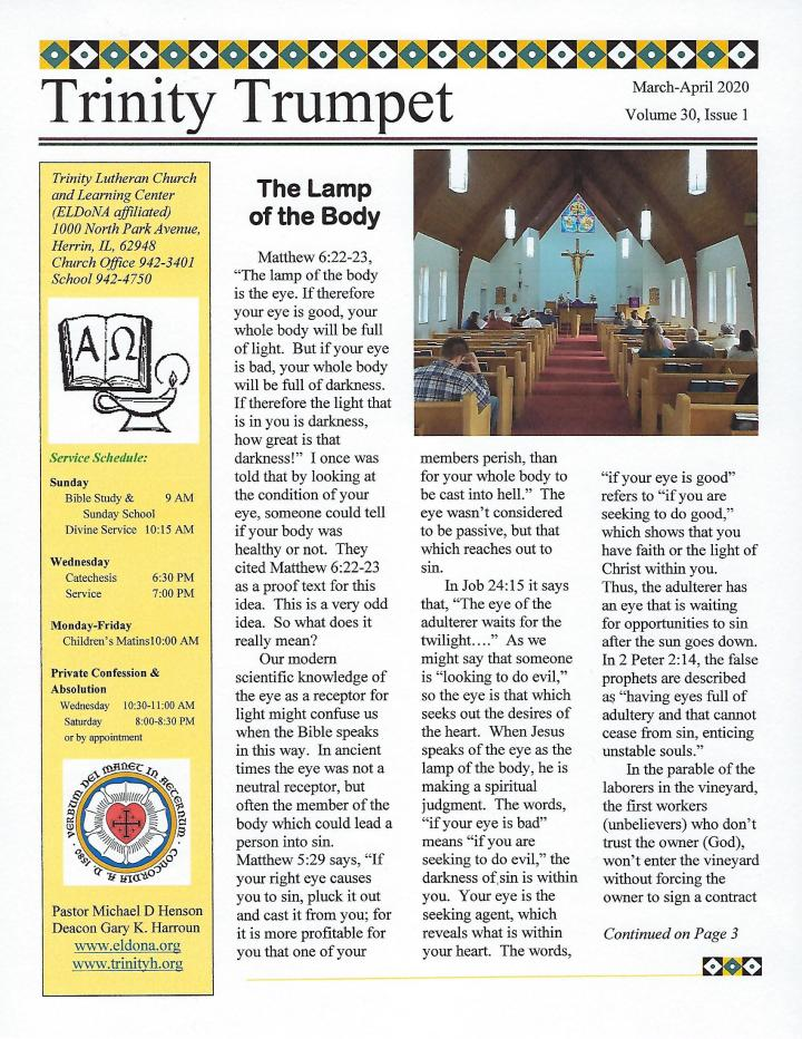 Mar Apr 2020 Newsletter Front Cover