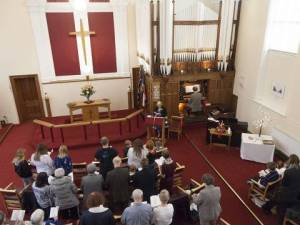 Church service at Trinity Methodist, Bolton