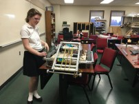 Megan working on the robot