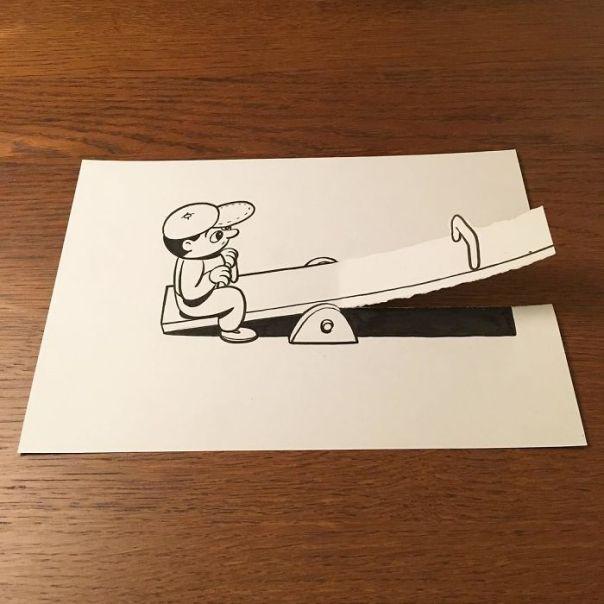 Kağıt Yırtarak veya Bükerek 2D-3D Resimler - Dane HuskMitNavn (30 Fotograf)