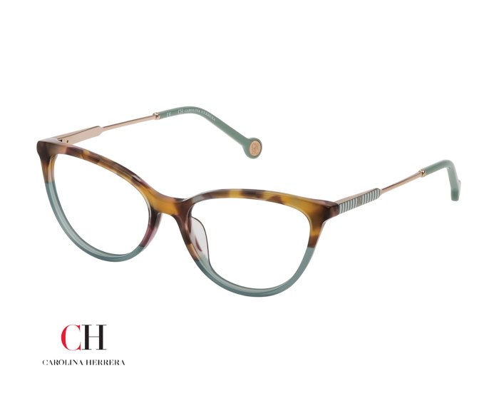 Carolina Herrera VHE817 Shiny Gradient Havana Green