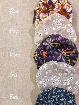 Charlottes à plat en tissu coton enduit couleurs