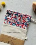 Sac à baguette - Wiltshire bleu et rouge - Lin et coton Liberty Trinquette Artisanat
