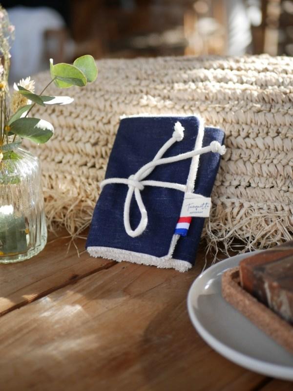 Pochette à savon en coton enduit, coloris Lin bleu foncé - Trinquette Artisanat
