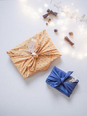 """Furoshiki """"Londres"""" emballage écologique en tissu réutilisable"""