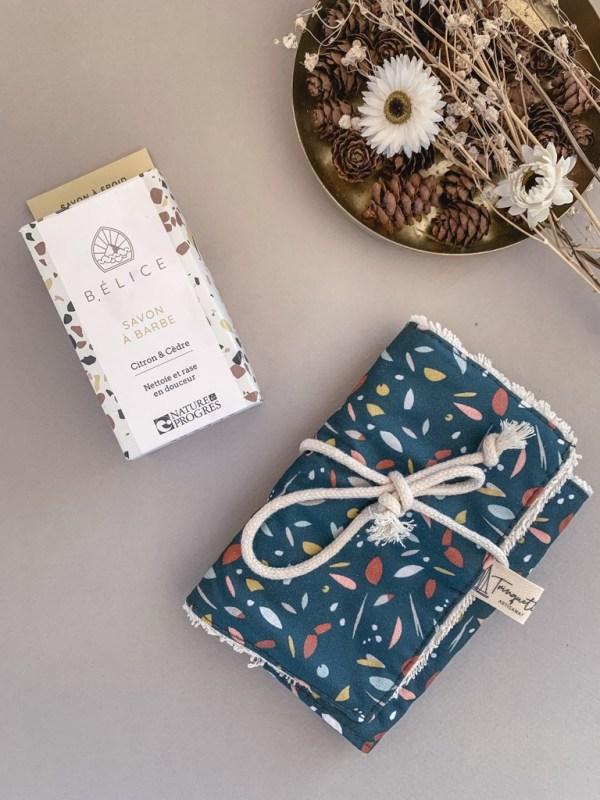 Pochette à savon en coton enduit, collection homme et coloris Vert - Trinquette Artisanat