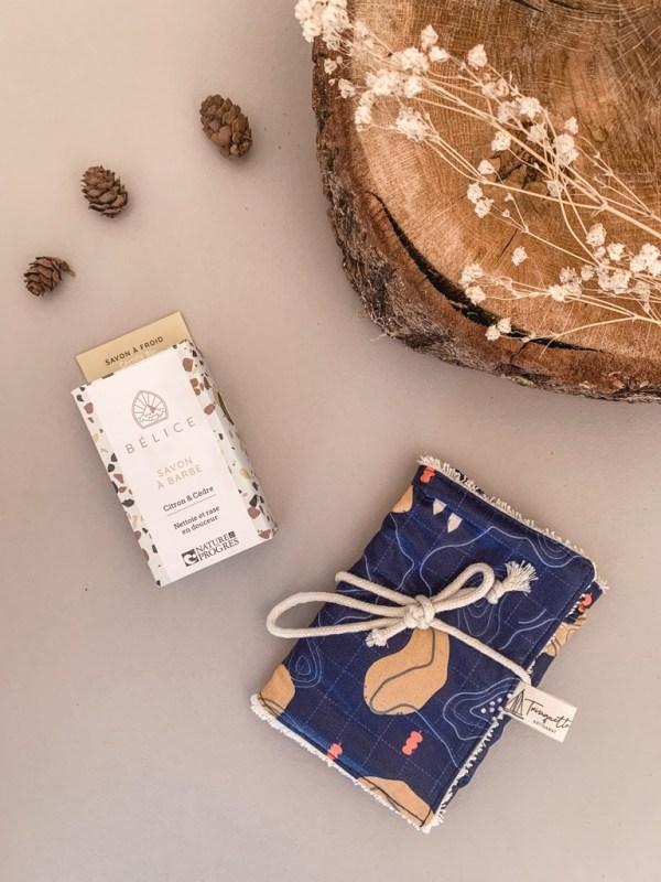 Pochette à savon en coton enduit, collection homme et coloris Nuggets - Trinquette Artisanat