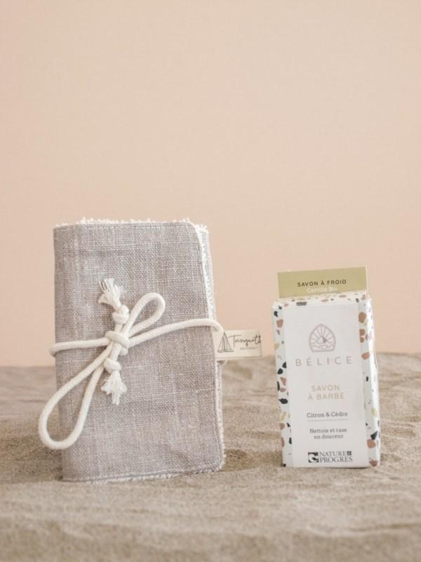 Pochette à savon en coton enduit, collection homme et coloris Beige - Trinquette Artisanat