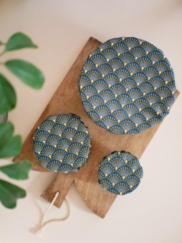 Couvre plat réutilisable - lot de 3 - Eventail bleu - Trinquette Artisanat