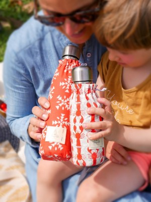 Duo de bouteilles isothermes Qwetch & pochette de transport - maman enfant