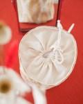 Trousse de toilette ronde en coton bio - coloris feuilles moutardes - Trinquette Artisanat