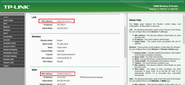 tp link status page to get mac address