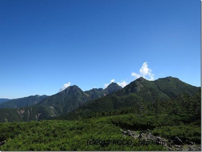 編笠山から権現岳