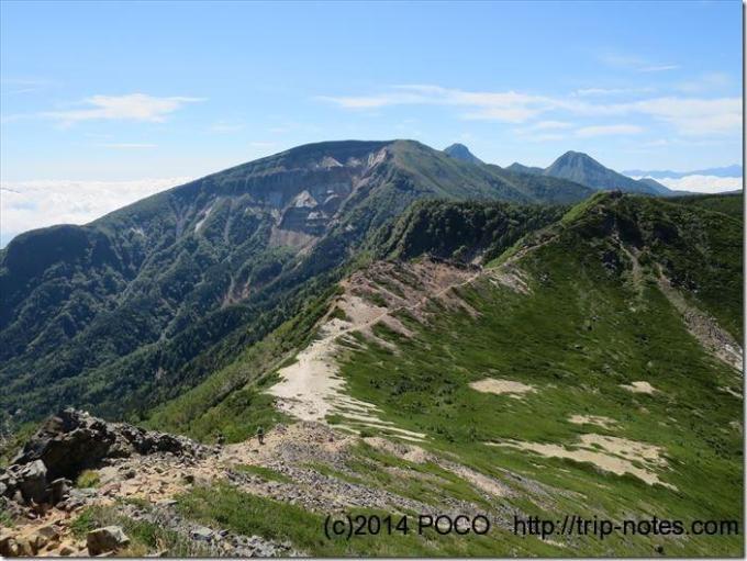 東天狗岳から硫黄岳への山道