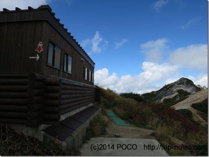 燕山荘テント場のトイレ