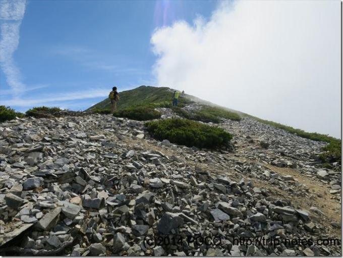 鹿島槍ヶ岳までの稜線
