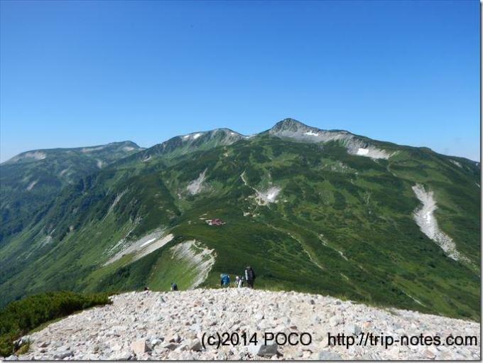 三俣山荘から鷲羽岳