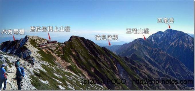 唐松岳から五竜岳を望む