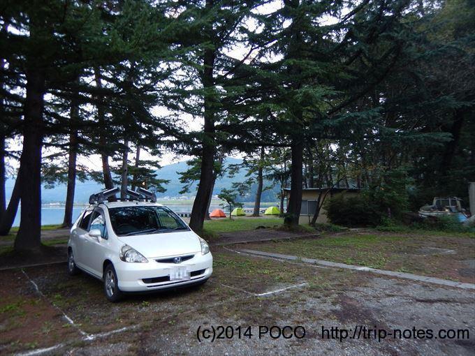 木崎湖キャンプ場の駐車場