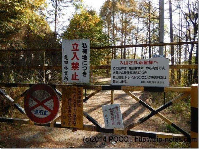亀田林業林道入口