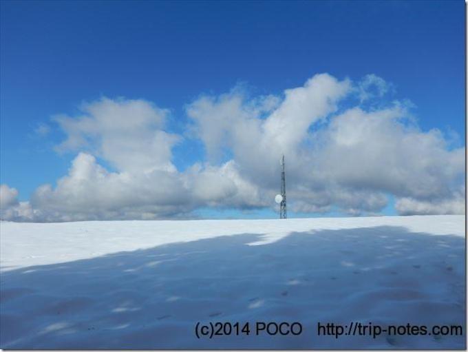 大野山の牧場雪山