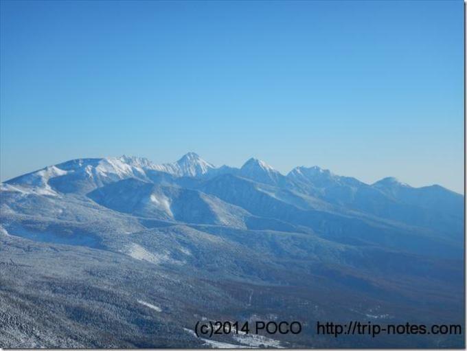 蓼科山山頂付近 雪山登山 八ヶ岳の眺望