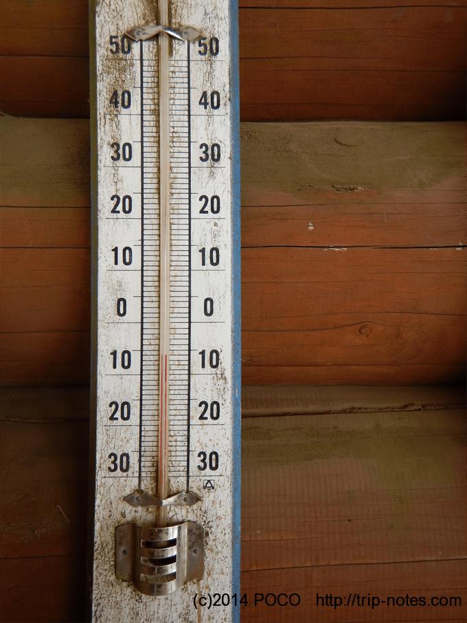 雲取山避難小屋気温計