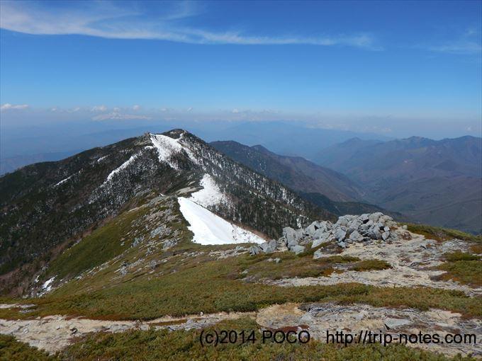 将棊頭山の稜線