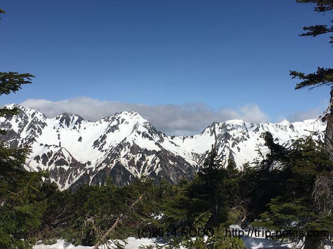 蝶ヶ岳山頂直下からの眺望