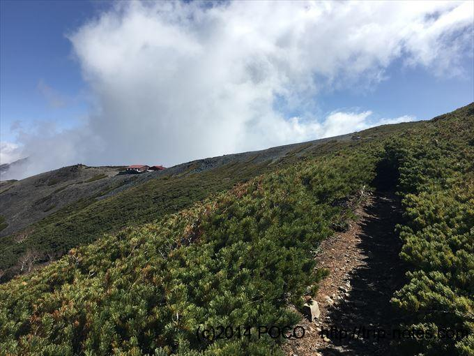 蝶ヶ岳山頂直下