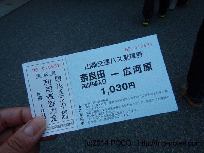 奈良田から広河原のバスチケット