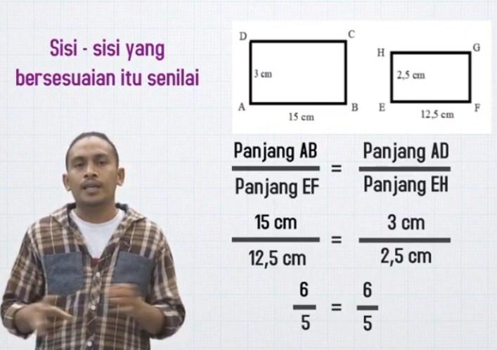 Pak Anwar akan menghias salah satu dinding rumahnya dengan hiasan marmer. Dinding ini memiliki panjang 9 m dan tinggi 6 m. Bagian yang akan dipasang marmer adalah sebangun dengan dinding