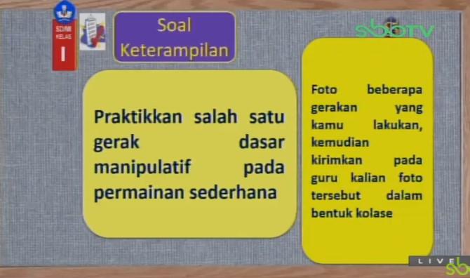 Soal dan Jawaban SBO TV 1 September SD Kelas 1