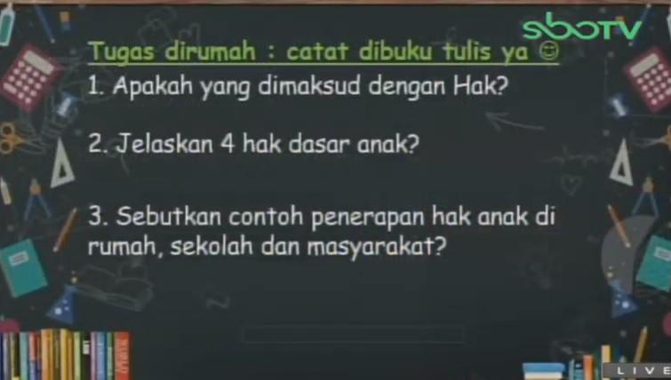 Soal dan Jawaban SBO TV 1 September SD Kelas 6
