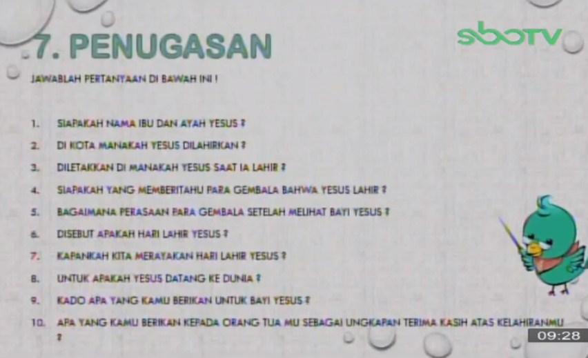 Soal dan Jawaban SBO TV 6 Oktober SD Kelas 2